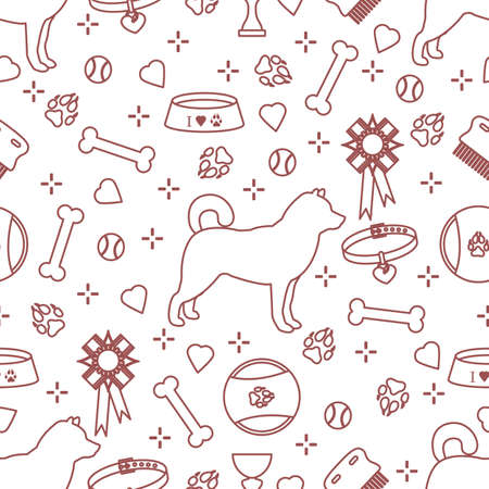 Vector seamless pattern illustration Dog Paw tracks Bone Bowl Collar Comb Toy Tennis ball Award Prize Animal background Pet shop, exhibition, veterinary clinic, shelter concept Design for fabric print