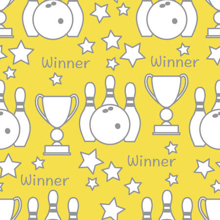 Seamless pattern with bowling pins and bowls, winner cup. Sports theme. Bowling Club Center Game, hobby, entertainment. Design for wrapping, fabric or print. Illuminating and Ultimate Gray.  イラスト・ベクター素材