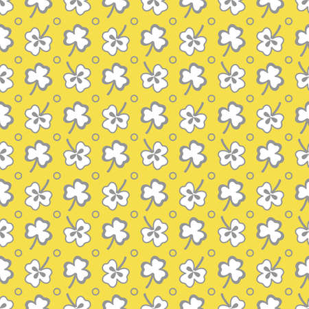 Seamless pattern with clover leaves. Shamrock background. St. Patrick's Day. Design for banner and print. Illuminating and Ultimate Gray.  イラスト・ベクター素材