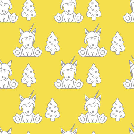 Seamless pattern with unicorns and Christmas tree. Christmas and New Year background. Design for wrapping, fabric, print. Illuminating and Ultimate Gray.