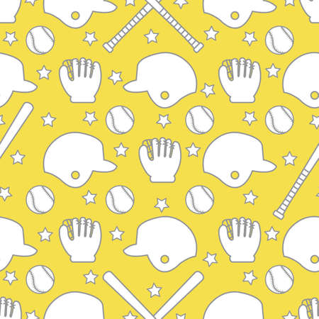 Vector seamless pattern with baseball bats, ball, helmet, baseball glove. Sports background. Design for banner, poster or print. Illuminating and Ultimate Gray.  イラスト・ベクター素材