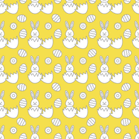 Seamless pattern with Easter Bunny looking out of an egg and decorated eggs. Happy Easter. Festive background. Design for banner, poster or print. Illuminating and Ultimate Gray.  イラスト・ベクター素材