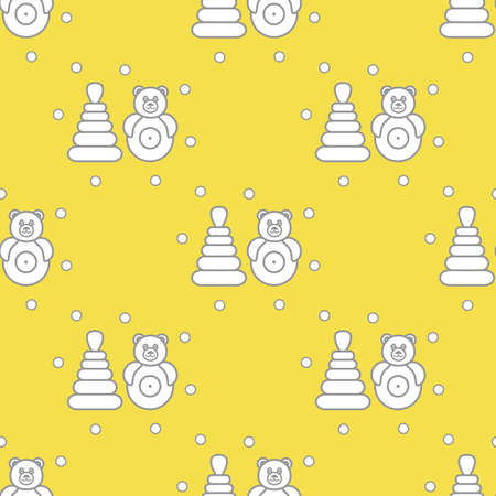Seamless pattern with children's toys. Roly-poly, pyramid. Illuminating and Ultimate Gray.