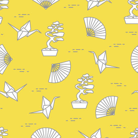 Seamless pattern with bonsai trees, origami paper cranes, fans. Travel and leisure. Japan traditional design elements. Illuminating and Ultimate Gray.