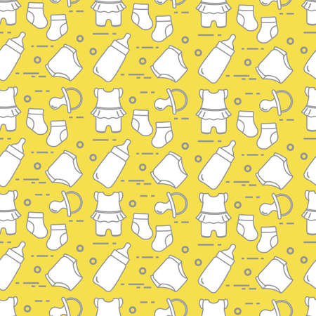 Seamless pattern with goods for babies. Newborn baby background. Baby bottle, nipple, socks, diapers, bodysuit. Illuminating and Ultimate Gray.