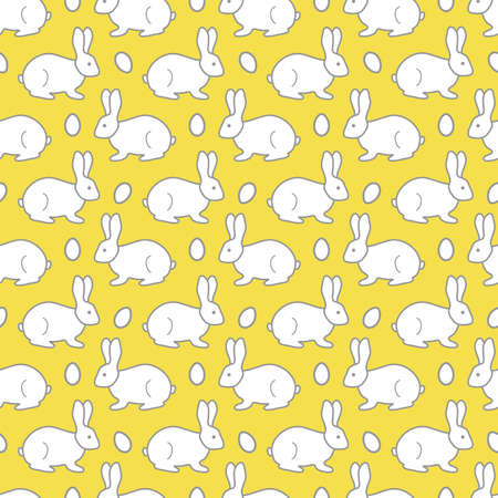 Seamless pattern with Easter Bunny, eggs. Happy Easter. Festive background. Design for banner, poster or print. Illuminating and Ultimate Gray.