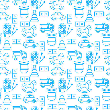 Vector seamless pattern Kid toys illustration Happy childhood Gaming items Cars pyramid, domino, xylophone drum ball Primary school, elementary grade, kindergarten Game Play Design for clothing, print
