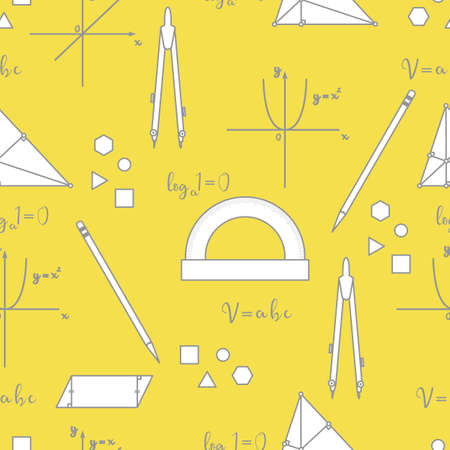 Mathematical scientific vector seamless pattern with geometry plots, tools and formulas. Education elements. Compasses, protractor, pencil, graphics, straight, parabola, formulas, triangle, parallelogram. Illuminating and Ultimate Gray.