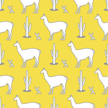 Seamless pattern with llama and cactus. Animal background. Design for card, announcement, advertisement, banner or print. Illuminating and Ultimate Gray.  イラスト・ベクター素材