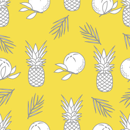 Seamless pattern with pineapples, orange, leaves. Tropical fruit. Summer background. Illuminating and Ultimate Gray.  イラスト・ベクター素材
