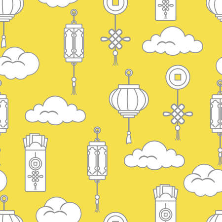 lanterns, money envelopes, coin for good luck, clouds. Festive traditions of different countries. Illuminating and Ultimate Gray.  イラスト・ベクター素材