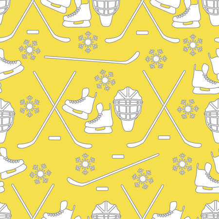 Seamless pattern with skates, goalkeeper mask, hockey stick, ice hockey puck, snowflakes. Winter sports background. Hockey equipment. Games, hobbies, entertainment. Illuminating and Ultimate Gray.  イラスト・ベクター素材
