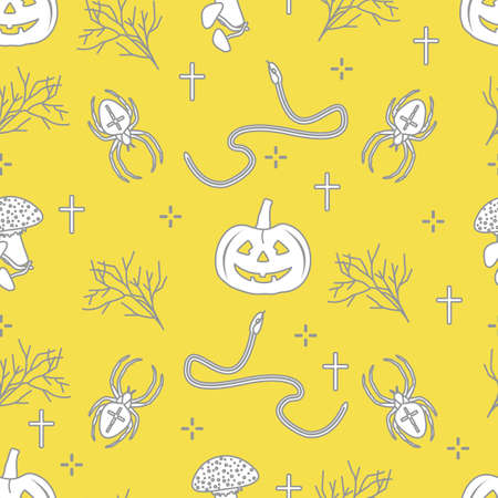 Halloween vector seamless pattern with pumpkins, branches, spiders, snakes, crosses. Design for decoration, wrapping, greeting cards, web page background, fabric, print. Illuminating and Ultimate Gray.