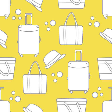 Vector travel seamless pattern Illustration with suitcase, sun hat, beach bag. Summer time, vacation, holiday, leisure background. Concept for travel agency. Design wrapping, fabric, print Illuminating and Ultimate Gray.