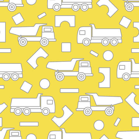 Vector seamless pattern with kid toys. Dump truck, cubes, blocks for construction. Primary school, elementary grade, kindergarten. Happy childhood activity. Design for textile, wrapping, print. Illuminating and Ultimate Gray.