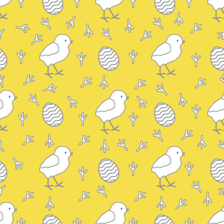 Seamless pattern with chicken, traces of chicken, decorated eggs. Happy Easter. Festive background. Design for banner, poster or print. Illuminating and Ultimate Gray.