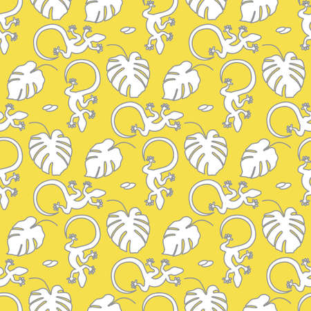 Vector Tropical seamless pattern Illustration Monstera leaves, lizard. Tropical plants Jungle wildlife. Animal. Exotic. Summer background. Design for textile, clothing, print. Illuminating and Ultimate Gray.  イラスト・ベクター素材