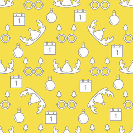 Happy new year, Merry Christmas vector seamless pattern with deer horns, Christmas ball, calendar, glasses with Christmas trees. Masquerade Party Background. Design for wrapping, fabric, print. Illuminating and Ultimate Gray.  イラスト・ベクター素材