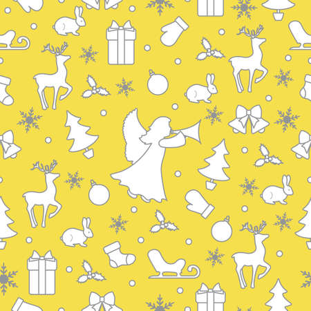 Merry Christmas Happy New Year background. Vector seamless pattern with angel, Santa Claus reindeer, gifts, Christmas sock, bells, hare, Christmas tree, ball, mistletoe, sled, mittens, snowflakes Illuminating and Ultimate Gray.  イラスト・ベクター素材