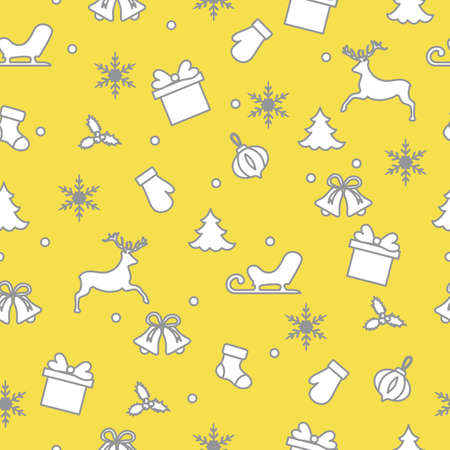 Happy New Year and Christmas seamless pattern. Winter illustration with mittens, sled, gift, snowflakes, deer, bell, Christmas sock, mistletoe, Christmas tree. Illuminating and Ultimate Gray.