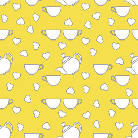 Vector seamless pattern Happy Valentine's Day Kettle, cup of tea, hearts. Romantic background. Love, relationship, dating concept. Greeting card. Design for party card, banner, poster or print. Illuminating and Ultimate Gray.