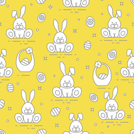Seamless pattern with Easter symbols. Rabbits, eggs, baskets of decorated eggs. Illuminating and Ultimate Gray.