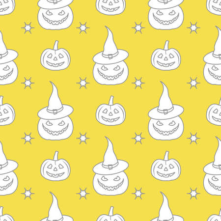 Halloween vector seamless pattern with pumpkins, witch hat. Design for party card, wrapping, fabric, print. Illuminating and Ultimate Gray.