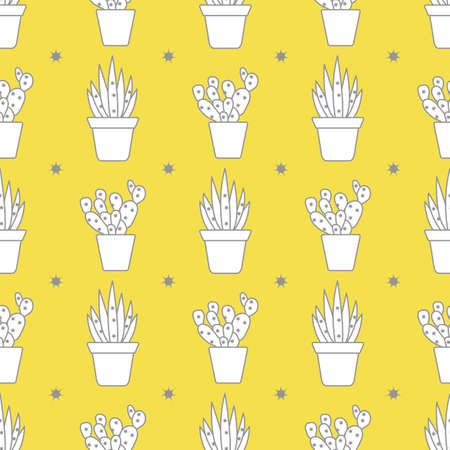 Vector seamless pattern with cactus and succulents. Trendy background. Tropical plants. Illuminating and Ultimate Gray.  イラスト・ベクター素材