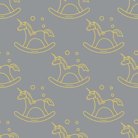 Pattern with rocking magic unicorn and bubbles. Design for children graphic, t-shirt, cover, gift card. Illuminating and Ultimate Gray.  イラスト・ベクター素材