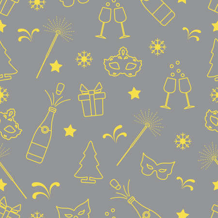 Seamless pattern with new year symbols. Gifts, fireworks, bottle and glasses with champagne, christmas tree, mask, stars, snowflakes. Illuminating and Ultimate Gray.  イラスト・ベクター素材