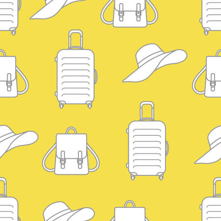 Vector travel seamless pattern Illustration with suitcase, sun hat, backpack. Summer time, vacation, holiday, leisure background. Concept for travel agency. Design wrapping, fabric, print Illuminating and Ultimate Gray.  イラスト・ベクター素材