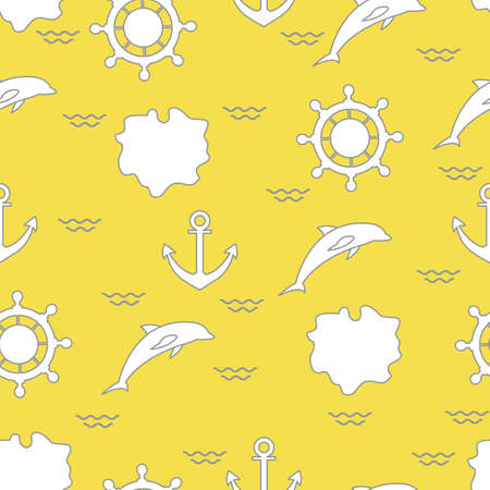 Seamless pattern with dolphins, anchors, steering wheels, waves, islands. Summer leisure. Illuminating and Ultimate Gray.