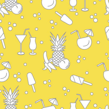 Seamless pattern with cocktails, ice cream, pineapple, orange, banana. Summer rest concept. Illuminating and Ultimate Gray.