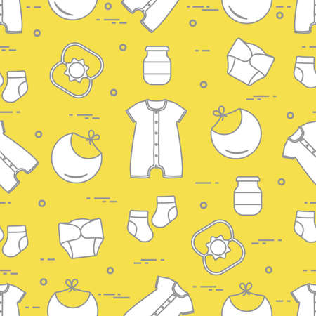 Seamless pattern with goods for babies. Newborn baby background. Bib, baby food can, rattle, socks, diapers, bodysuit. Illuminating and Ultimate Gray.