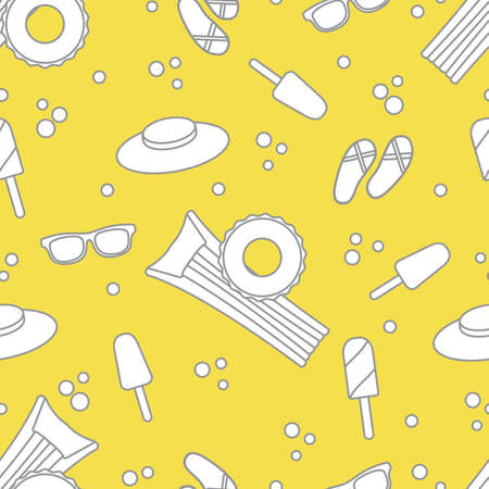 Seamless pattern with inflatable mattress, inflatable circle, ice cream, hat, glasses, beach slippers. Summer rest concept. Illuminating and Ultimate Gray.