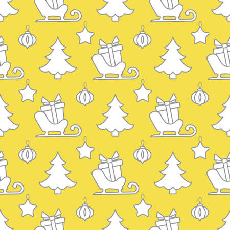 Happy new year, Merry Christmas vector seamless pattern with Christmas tree, Santa's sleigh, gifts, Christmas tree toys. Design for wrapping, fabric, print. Illuminating and Ultimate Gray.  イラスト・ベクター素材