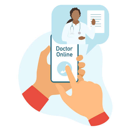 Consultation Doctor online vector illustration Hands hold cell phone Online medical communication with patient. Virtual hospital. Medical support. Healthcare. Flat style Design for website, app, print