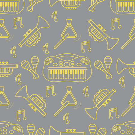 Vector seamless pattern with children's musical toys. Illustration with musical instruments. Maracas, synthesizer, trumpet, triangle and notes. Toys for kids. Design for packaging paper, fabric, print Illuminating and Ultimate Gray.