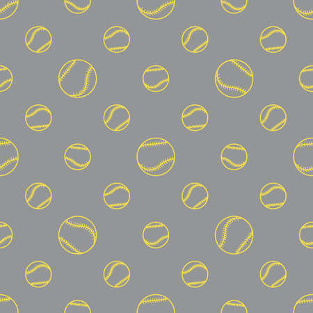 Vector seamless pattern with baseball balls. Sports background. Design for banner, poster or print. Illuminating and Ultimate Gray.