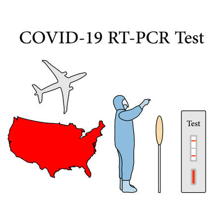 Vector illustration Carrying out RT PCR test to diagnose coronavirus infection. USA America People protect from covid-19 virus Reducing risk of infection, prevention measures Medicine Design for print