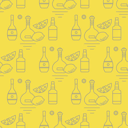 Seamless pattern Vector illustration Bottles of alcoholic beverage, cheese, lemon. Liquor store, bar. Alcohol drinks market concept. Barman Wine, cognac, liquor, whiskey, brandy Design for menu, print Illuminating and Ultimate Gray.