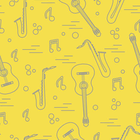 Seamless pattern with saxophones, notes, guitars. Musical instruments. Illuminating and Ultimate Gray.