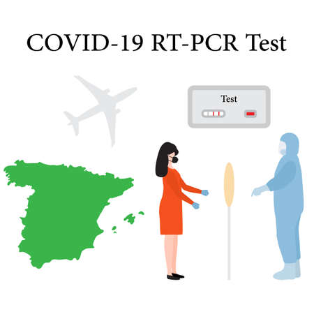 Vector illustration Carrying out RT PCR test to diagnose coronavirus infection. Spain People protect from covid-19 virus. Reducing risk of infection, prevention measures Medicine Design for print