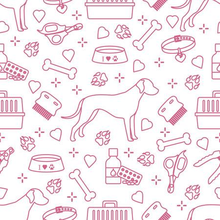 Vector seamless pattern illustration Dog, paw tracks, bone, bowl, collar, comb, medicines, scissors, clippers. Animal background.