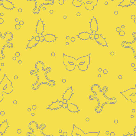 Seamless pattern with gingerbread man, mistletoe, mask. Christmas and New Year background. Design for packaging paper, fabric and other print. Illuminating and Ultimate Gray. Vector Illustration