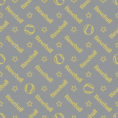 Vector seamless pattern with baseball balls and inscription baseball. Sports background. Design for banner, poster or print. Illuminating and Ultimate Gray. Vetores
