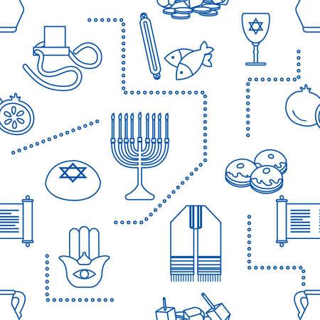 Vector Seamless pattern Illustration Jewish holiday Traditional symbols Torah scroll, oil jar, pomegranate Amulet hamsa, menorah, kippah, tefillin, Talith, Dreidel, Fish, donuts Festive design Print