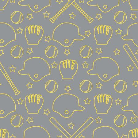 Vector seamless pattern with baseball bats, ball, helmet, baseball glove. Sports background. Design for banner, poster or print. Illuminating and Ultimate Gray. Vetores