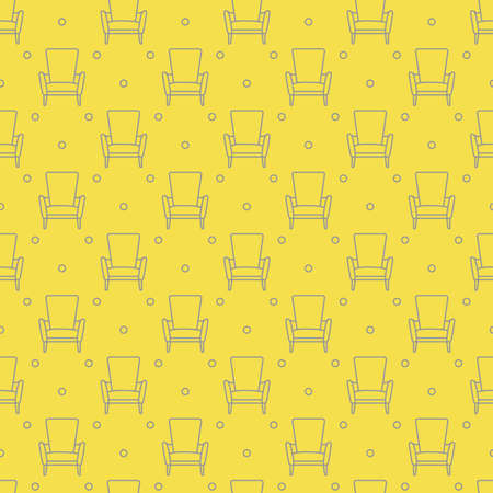 Vector seamless armchair pattern. Cushioned furniture. Design for banner, poster or print. Illuminating and Ultimate Gray.