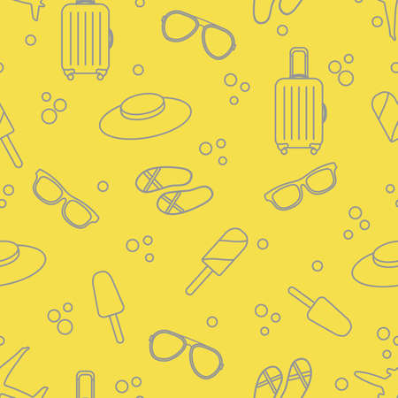 Seamless pattern with suitcase, ice cream, hat, sunglasses, beach slippers. Summer rest concept. Illuminating and Ultimate Gray.